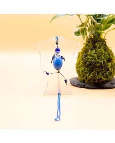 Sautoir poupée perle bleu