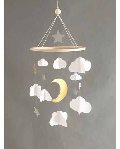 Mobile bébé nuages et lune...