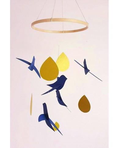 5 Oiseaux bleu Gouttes or...